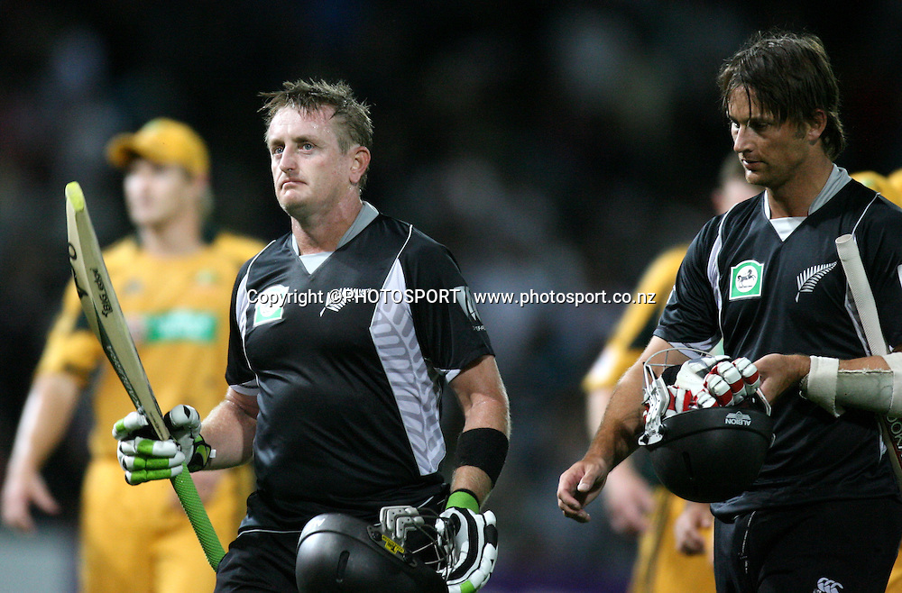 Scott Styris and Shane Bond  leave the field after the win. New Zealand Black Caps v Australia. 1st ODI, Chappell-Hadlee Trophy Series. McLean Park, Napier. Wednesday 03 March 2010  Photo: John Cowpland/PHOTOSPORT