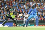 KL Rahul reverse sweeps. T20 international, Australia v India. Sydney Cricket Ground, NSW, Australia, 25 November 2018. Copyright Image: David Neilson / www.photosport.nz