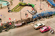 11 MAY 2010 -- BANGKOK, THAILAND: An aerial view of the Red Shirts' Sala Daeng barricade. The Red Shirts are continuing their protests in Bangkok and demanding the dissolution of the Thai parliament and resignation of Thai Prime Minister Abhisit Vejjajiva.  PHOTO BY JACK KURTZ
