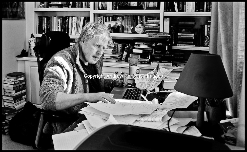 Boris Johnson working on his speech in his office at house in North London during the London Mayor Election. Photo By Andrew Parsons/i-Images