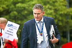 Ross McEwan, CEO of RBS, pictured after speaking to members of Unite union protesting against branch closures outside the AGM at Gogarburn, Edinburgh. Pic copyright Terry Murden @edinburghelitemedia