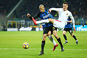 Patrik Schick of AS Roma and Miranda of Inter during the Italian championship Serie A football match between FC Internazionale and AS Roma on January 21, 2018 at Giuseppe Meazza stadium in Milan, Italy - Photo Morgese - Rossini / ProSportsImages / DPPI