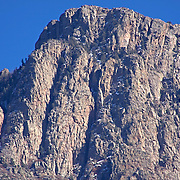 "Closeup look at the majesty of the Sandia range...taking in the ""three fingers"" scaling to the top of the peak."