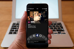 Using iPhone smartphone to display show on BBC radio 4 Network radio station