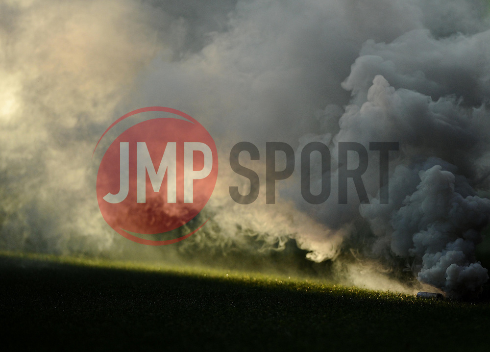 Preston fans throw a smoke canister on to the pitch  - Photo mandatory by-line: Joe Meredith/JMP - Mobile: 07966 386802 - 22/11/2014 - Sport - Football - Bristol - Ashton Gate - Bristol City v Preston North End - Sky Bet League One