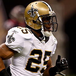 August 21, 2010; New Orleans, LA, USA; New Orleans Saints running back Reggie Bush (25) during warm ups prior to kickoff of a preseason game against the Houston Texans at the Louisiana Superdome. Mandatory Credit: Derick E. Hingle