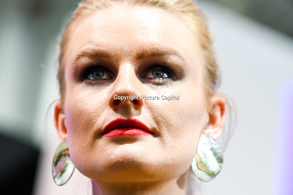 London, UK. 3nd September, 2018. Model wearing Jewellery form stalls of the exhibitors showcases is latest brands and designers at the International Jewellery London 2018, Olympia London, UK.