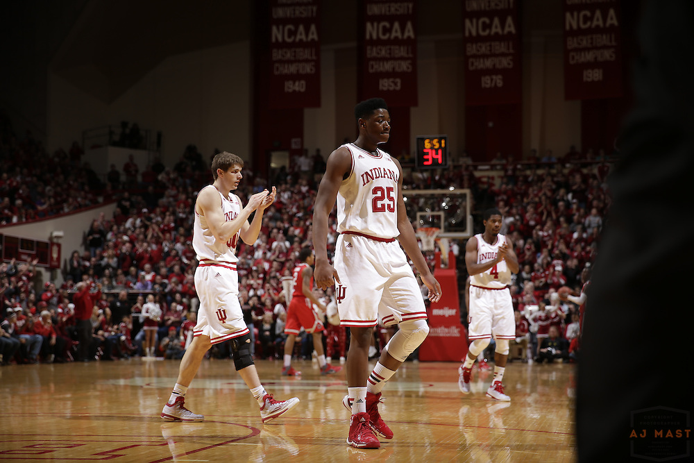 Indiana forward Emmitt Holt (25) as Ohio State played Indiana in an NCCA college basketball game in Bloomington, Ind., Saturday, Jan. 10, 2015. (AJ Mast)