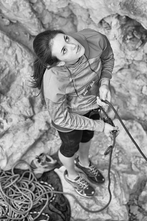 Paige Claassen DeKock belaying at the Blasphemy Wall, Virgin River Gorge.