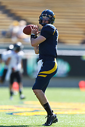 BERKELEY, CA - SEPTEMBER 08: Quarterback Austin Hinder #7 of the California Golden Bears warms up before the game against the Southern Utah Thunderbirds at Memorial Stadium on September 8, 2012 in Berkeley, California. The California Golden Bears defeated the Southern Utah Thunderbirds 50-31. (Photo by Jason O. Watson/Getty Images) *** Local Caption *** Austin Hinder