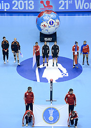07-12-2013 HANDBAL: WERELD KAMPIOENSCHAP NEDERLAND - DOMINICAANSE REPUBLIEK: BELGRADO <br /> 21st Women s Handball World Championship Belgrade, Nederland wint met 44-21 / Line up scheidsrechters referee volksliederen<br /> ©2013-WWW.FOTOHOOGENDOORN.NL