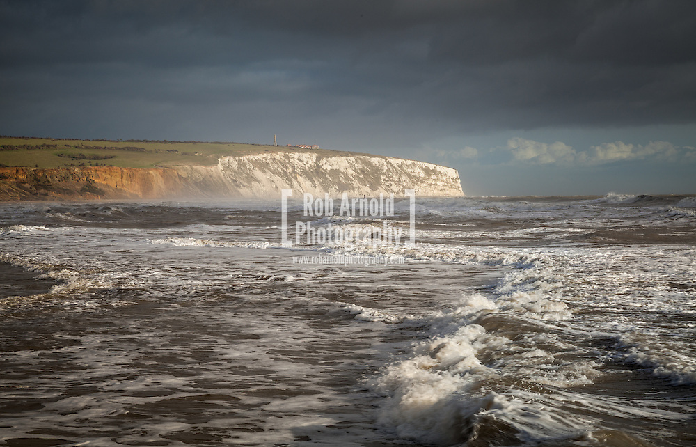 © Rob Arnold.  30/12/2013. , UK. Stormy seas in Sandown Bay on the Isle of Wight during the stormy period of 2013 Christmas period. Photo credit : Rob Arnold