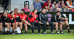 21.06.2016, Sportplatz, Bischofshofen, AUT, Testspiel, FC Red Bull Salzburg vs SK Slavia Prag, im Bild die Betreuerbank des FC Red Bull Salburg mit Rene Aufhauser (Co-Trainer FC Red Bull Salzburg), Oscar Garcia (Trainer FC Red Bull Salburg) und Ruben Martinez (Co-Trainer FC Red Bull Salzburg) // during a international friendly football match between FC Red Bull Salzburg and SK Slavia Praha at the Sportplatz, Bischofshofen, Austria on 2016/06/21. EXPA Pictures © 2016, PhotoCredit: EXPA/ Martin Huber
