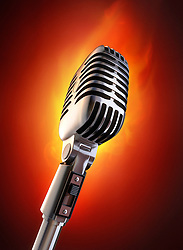 50's microphone on fire.