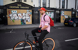 © Licensed to London News Pictures. 24/08/2018. London, UK. Businesses boarded up near Portobello Road in Notting Hill, West London ahead of the 2018 Notting Hill Carnival which starts this weekend. Photo credit: Ben Cawthra/LNP