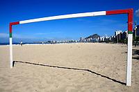 on soccer goal copacabana beach in rio de janeiro in brazil