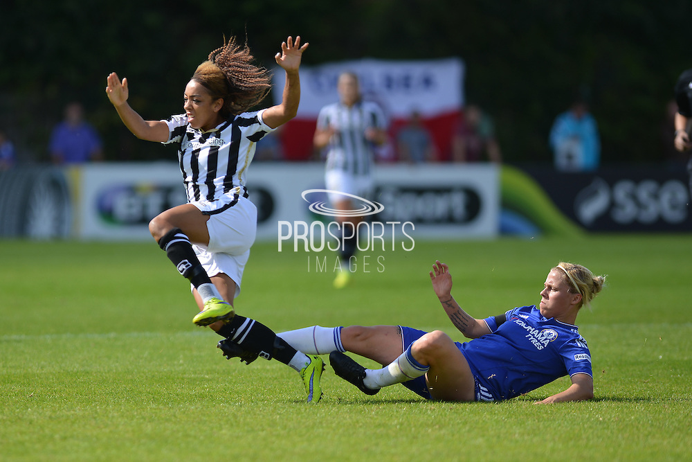 Chelsea Ladies defender Gilly Flaherty brings down Notts County Ladies forward Jess Clarke during the FA Women's Super League match between Chelsea Ladies FC and Notts County Ladies FC at Staines Town FC, Staines, United Kingdom on 6 September 2015. Photo by Mark Davies.
