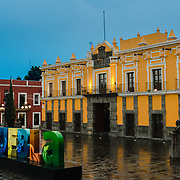Principal Theature in Puebla on a wet evening
