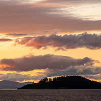 Sunset in the San Juan Islands of Washington State near Jones Island Marine State Park.