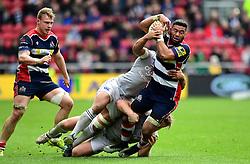 Ben Tapuai of Bath Rugby tackles Tusi Pisi of Bristol Rugby  - Mandatory by-line: Joe Meredith/JMP - 26/02/2017 - RUGBY - Ashton Gate - Bristol, England - Bristol Rugby v Bath Rugby - Aviva Premiership