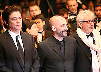 Benicio Del Toro, Gaspar Noe, Elia Suleiman at the Holy Motors gala screening, red carpet at the 65th Cannes Film Festival France. Wednesday 23rd May 2012 in Cannes Film Festival, France.