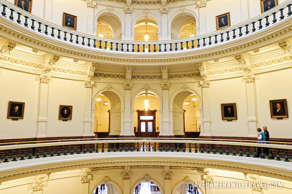 Some of the floors of the balconies overlooking the main atrium under the dome of the Texas State Capitol Building in Austin, Texas.
