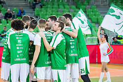 Players of Petrol Olimpija during basketball match between KK Petrol Olimpija and KK Sixt Primorska in Playoffs of Liga Nova KBM, on March 30, 2018 in Arena Stozice, Ljubljana, Slovenia. Photo by Ziga Zupan / Sportida