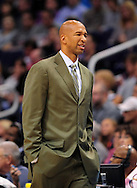 Nov. 23, 2012; Phoenix, AZ, USA; New Orleans Hornets head coach Monty Williams reacts from the sidelines during the game against the Phoenix Suns in the first half at US Airways Center. The Suns defeated the Hornets 111-108 in overtime.  Mandatory Credit: Jennifer Stewart-US PRESSWIRE
