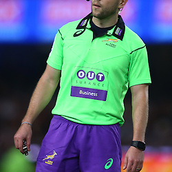 DURBAN, SOUTH AFRICA - APRIL 09: Referee Angus Gardner (Aus) during the 2016 Super Rugby match between Cell C Sharks and Emirates Lions at Growthpoint Kings Park on April 09, 2016 in Durban, South Africa. (Photo by Steve Haag/Gallo Images)