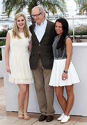Director Ken Loach with actresses Siobhan Reilly (left) and Jasmin Riggins at the the Cannes Film Festival for his new film The Angel's Share, Tuesday, 22nd May 2012. Photo by: Stephen Lock / i-Images