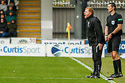 Hibernian FC Manager Neil Lennon on the pitch shouting at his players as the pressure continues during the Ladbrokes Scottish Premiership match between St Mirren and Hibernian at the Simple Digital Arena, Paisley, Scotland on 29th September 2018.
