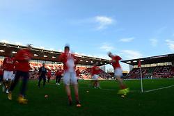 Stoke City players warm up before the game - Photo mandatory by-line: Dougie Allward/JMP - Mobile: 07966 386802 - 06/12/2014 - SPORT - Football - Stoke - Britannia Stadium - Stoke City v Arsenal - Barclays Premie League