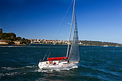 A sail boat in Sydney Harbor, Sydney, New South Wales, Australia