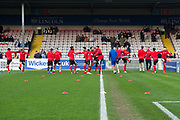 Lincoln City warming up before the EFL Sky Bet League 2 match between Lincoln City and Coventry City at Sincil Bank, Lincoln, United Kingdom on 18 November 2017. Photo by Craig Zadoroznyj.