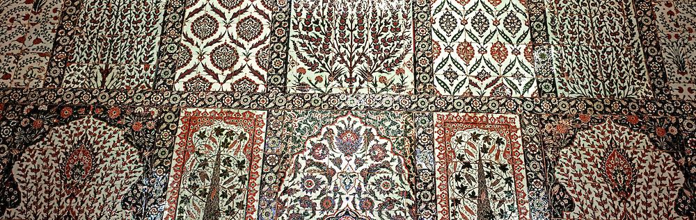 TURKEY, ISTANBUL, OTTOMAN Blue Mosque; Iznik blue tile details