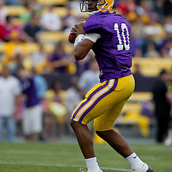 18 April 2009: LSU Tigers quarterback Russell Shepard (10) on the field during the 2009 LSU spring football game at Tiger Stadium in Baton Rouge, LA.