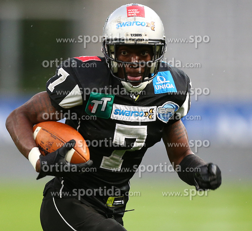 04.05.2013, Tivoli Stadion, Innsbruck, AUT, AFL, Swarco Raiders Tirol vs Prag Black Panthers, im Bild Jaycen Taylor Spears, (SWARCO Raiders Tirol, RB, #7)  // during the Austrian Football League Game between Swarco Raiders Tirol and Prague Black Panthers at the Tivoli Stadion, Innsbruck, Austria on 2013/05/04. EXPA Pictures © 2013, PhotoCredit: EXPA/ Thomas Haumer