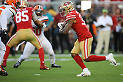 San Francisco 49ers running back Raheem Mostert (31) runs during an NFL football game against the Cleveland Browns, Monday, Oct. 7, 2019, in Santa Clara, Calif. The 49ers defeated the Browns (Peter Klein/Image of Sport)