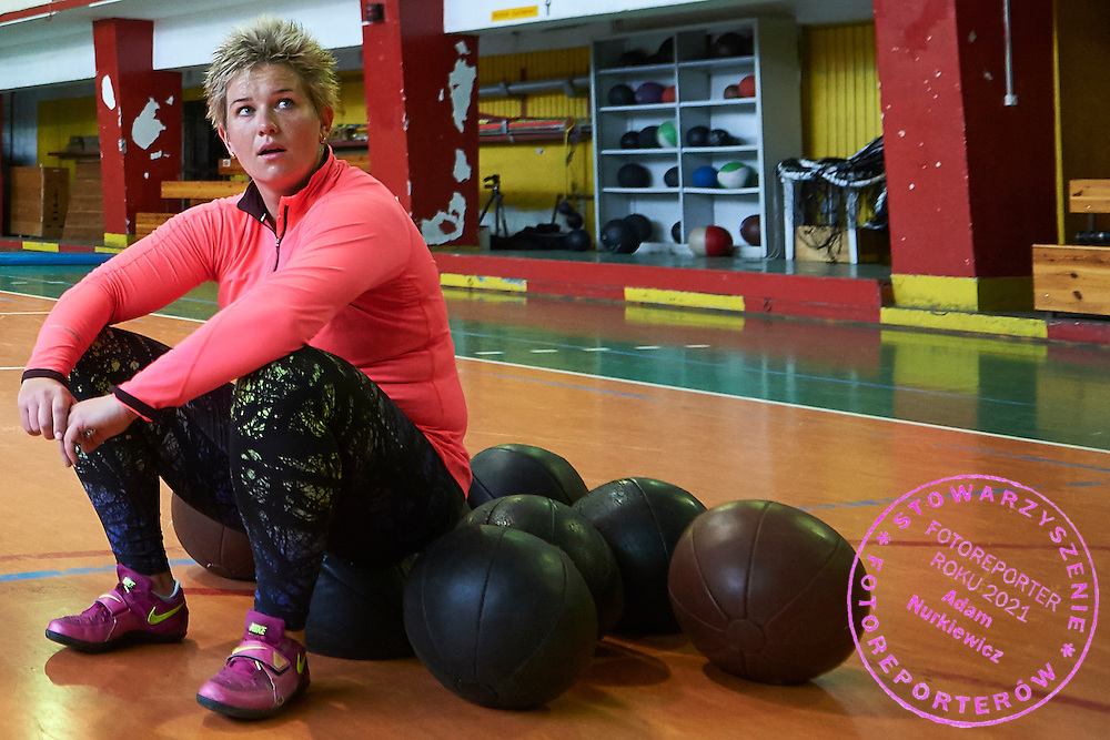 WARSAW, POLAND - 2016 JANUARY 30: Hammer throw athlete Anita Wlodarczyk from Poland rests while the training session at the Skra Warszawa Athletic Club on January 30, 2016 in Warsaw, Poland.<br /> <br /> Picture also available in RAW (NEF) or TIFF format on special request.<br /> <br /> Any editorial, commercial or promotional use requires written permission from the author of image.<br /> <br /> Adam Nurkiewicz declares that he has no rights to the image of people at the photographs of his authorship.<br /> <br /> Mandatory credit:<br /> Photo by &copy; Adam Nurkiewicz / Mediasport