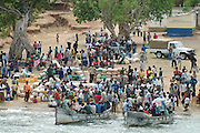 Africa. Lake Malawi. Passengers and goods waiting to board the Ilala ferry at the Mozambiquan port of Metangula..CD0009