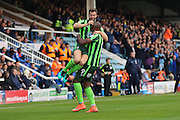 AFC Wimbledon defender Jon Meades (3) and AFC Wimbledon striker Tom Elliott (9) celebrate during the EFL Sky Bet League 1 match between Peterborough United and AFC Wimbledon at ABAX Stadium, London Road, Peterborough, England on 22 October 2016. Photo by Stuart Butcher.