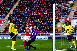 Ryan Williams of Rotherham United gives Rotherham United the lead - Mandatory by-line: Ryan Crockett/JMP - 02/03/2019 - FOOTBALL - Aesseal New York Stadium - Rotherham, England - Rotherham United v Blackburn - Sky Bet Championship