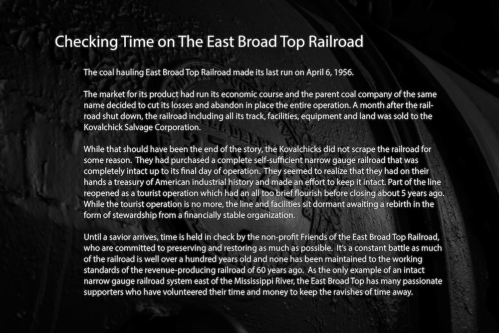 The coal hauling East Broad Top Railroad made its last run on April 6, 1956. <br />