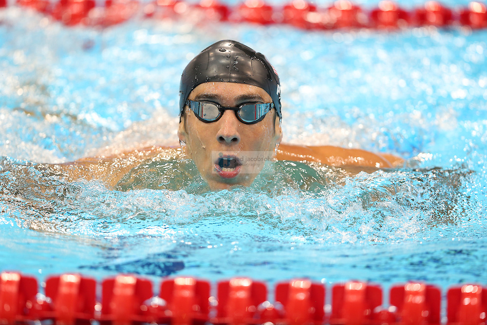 Michael Phelps of the United States looks on after the Men's 4x100m Medley Relay Final on Day 8 of the London 2012 Olympic Games at the Aquatics Centre on August 4, 2012 in London, England. (Jed Jacobsohn/for The New York Times)....