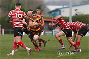 Carmarthen Quins' hooker Dom Booth makes a break in midfield.<br /> <br /> Photographer: Dan Minto<br /> <br /> Indigo Welsh Premiership Rugby - Round 12 - Llandovery RFC v Carmarthen Quins RFC - Saturday 28th December 2019 - Church Bank, Llandovery, South Wales, UK.<br /> <br /> World Copyright © Dan Minto Photography<br /> <br /> mail@danmintophotography.com <br /> www.danmintophotography.com