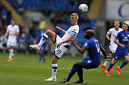 Steve Morison of Millwall (l) is challenged by Sol Bamba of Cardiff city &reg;. EFL Skybet championship match, Cardiff city v Millwall at the Cardiff city stadium in Cardiff, South Wales on Saturday 28th October 2017.<br /> pic by Andrew Orchard, Andrew Orchard sports photography.