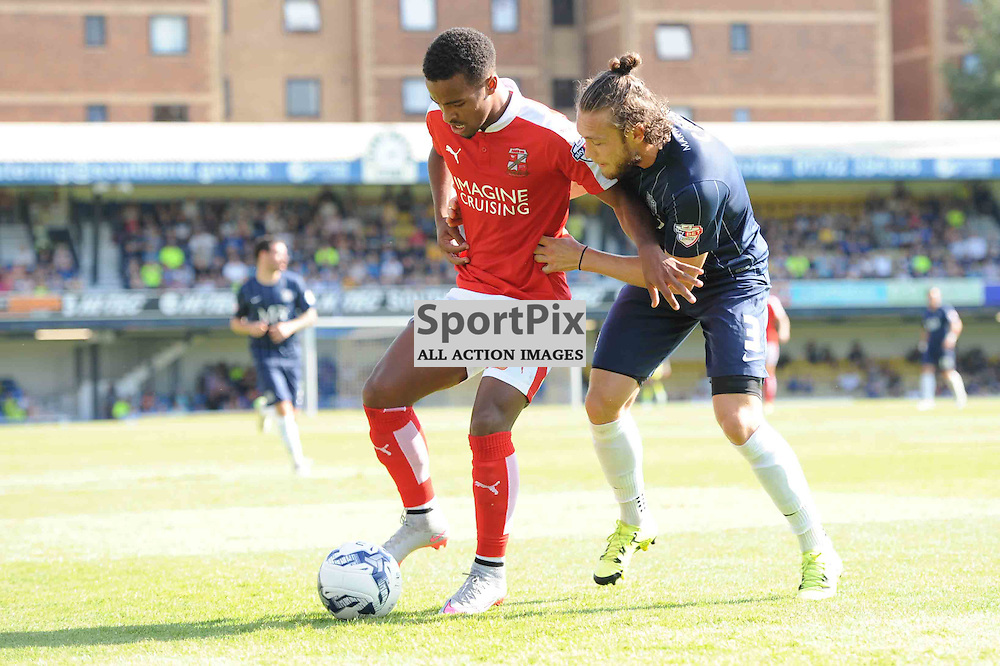 Southends Ben Coker and Swindons Nathan Byrne in action in their Sky Bet League 1 clash
