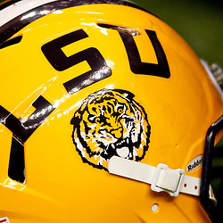 January 5, 2012; New Orleans, LA, USA; A detail of a LSU Tigers helmet on the field during practice for the 2012 BCS National Championship game to be played on January 9, 2012 against the Alabama Crimson Tide at the Mercedes-Benz Superdome.  Mandatory Credit: Derick E. Hingle-US PRESSWIRE