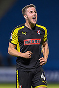 Rotherham United midfielder Will Vaulks (4) celebrates winning the game after the EFL Sky Bet League 1 match between Gillingham and Rotherham United at the MEMS Priestfield Stadium, Gillingham, England on 17 April 2018. Picture by Martin Cole.