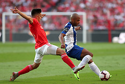 October 7, 2018 - Lisbon, Portugal - Porto's Algerian forward Yacine Brahimi vies with Benfica's Argentine forward Franco Cervi during the Portuguese League football match SL Benfica vs FC Porto at the Luz stadium in Lisbon on October 7, 2018. (Credit Image: © Pedro Fiuza/ZUMA Wire)
